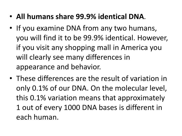 All humans share 99.9% identical DNA