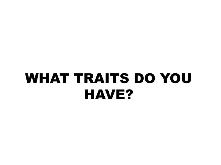 WHAT TRAITS DO YOU HAVE?