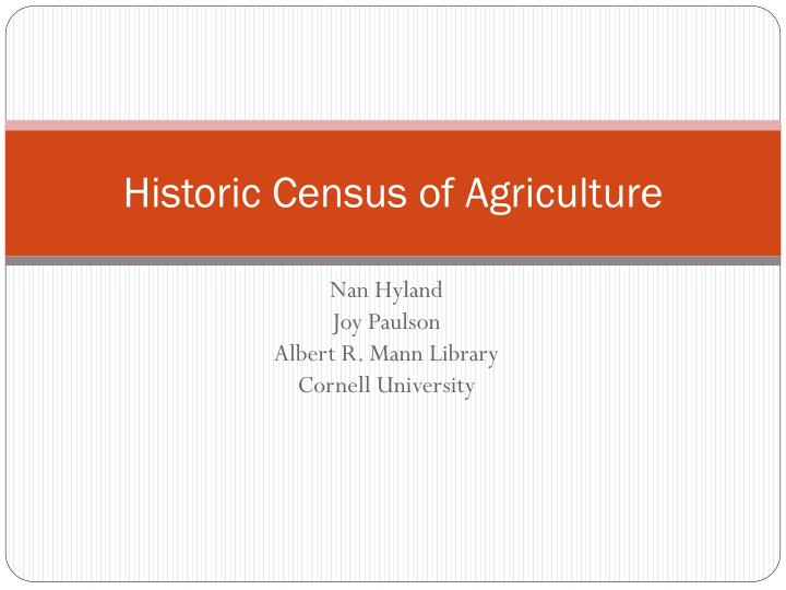 Historic census of agriculture