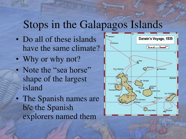 Stops in the Galapagos Islands