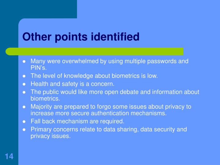 Other points identified
