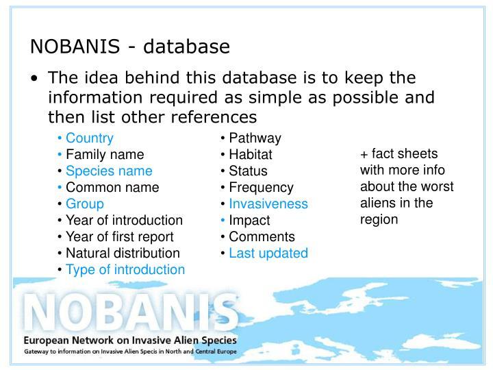 NOBANIS - database