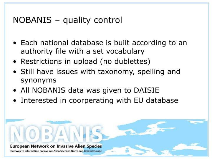 NOBANIS – quality control