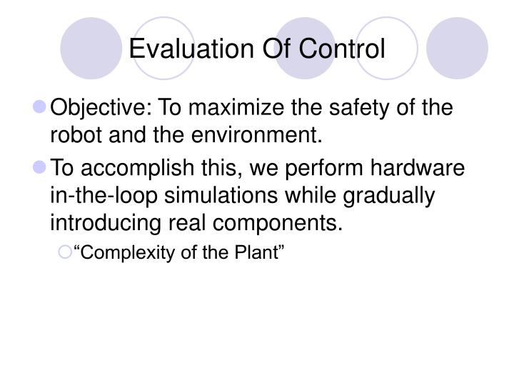 Evaluation Of Control