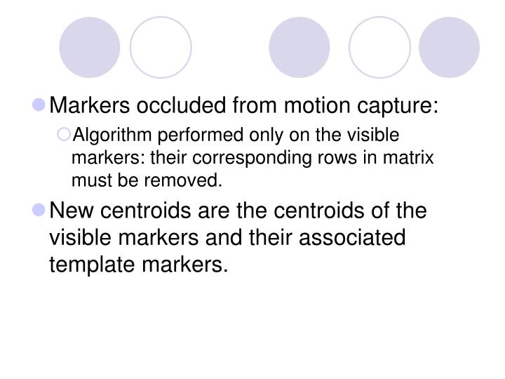 Markers occluded from motion capture:
