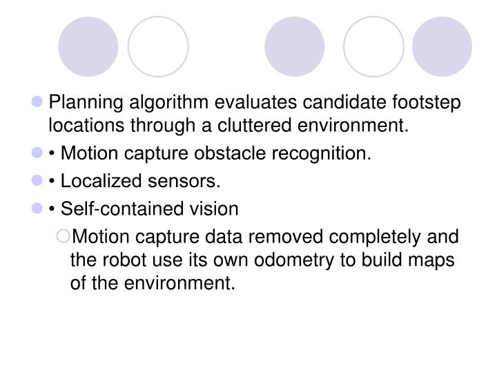Planning algorithm evaluates candidate footstep locations through a cluttered environment.