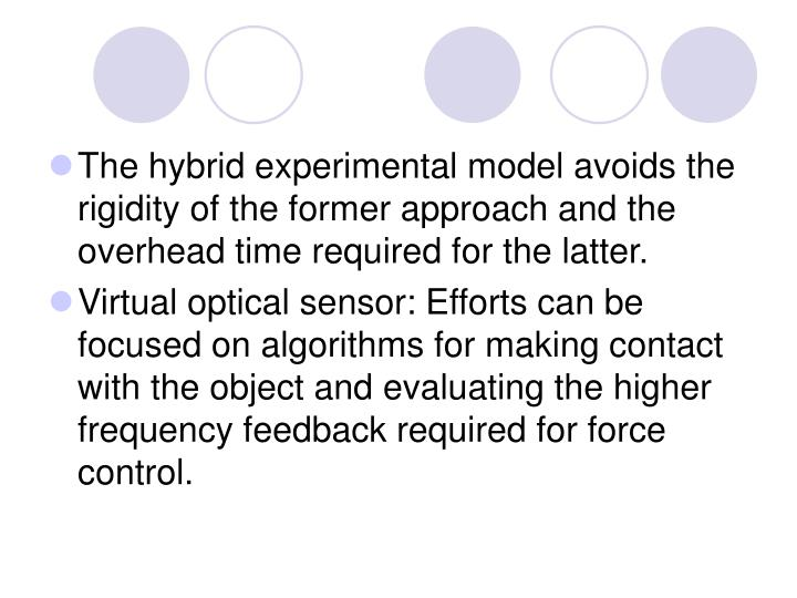 The hybrid experimental model avoids the rigidity of the former approach and the overhead time required for the latter.