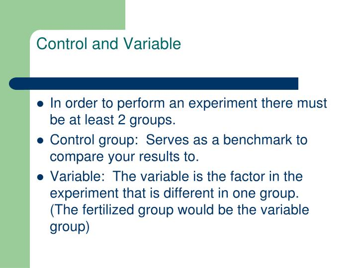 Control and Variable