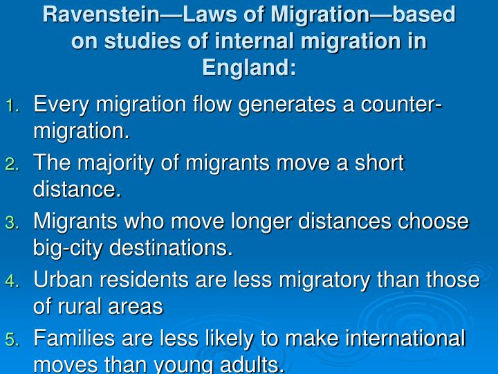 Ravenstein laws of migration based on studies of internal migration in england