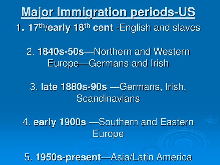 Major Immigration periods-US
