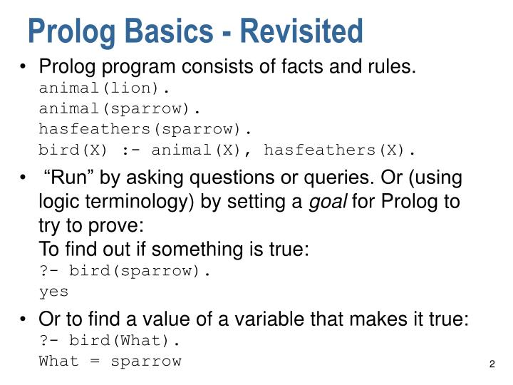 Prolog Basics - Revisited
