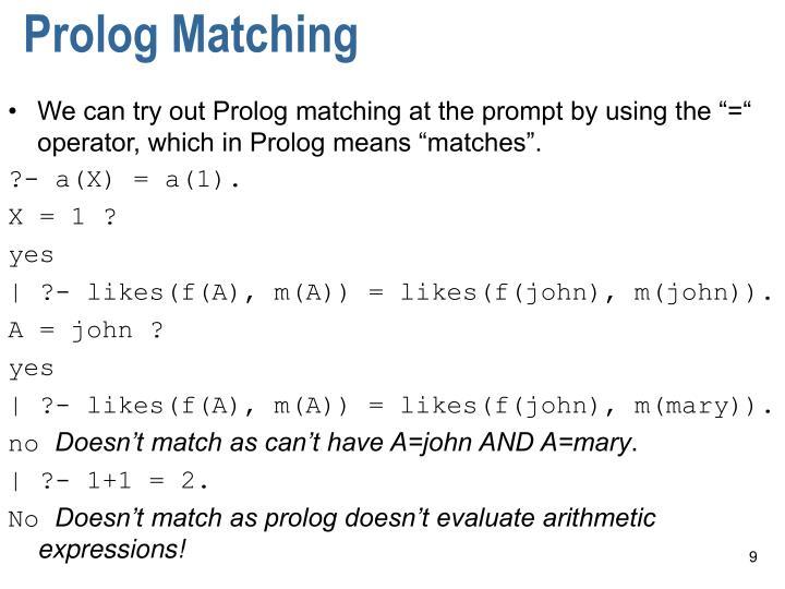 Prolog Matching