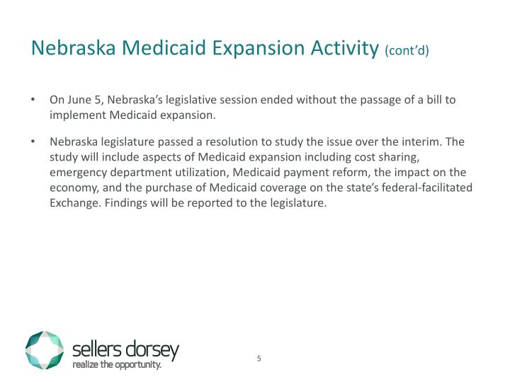 Nebraska Medicaid Expansion Activity