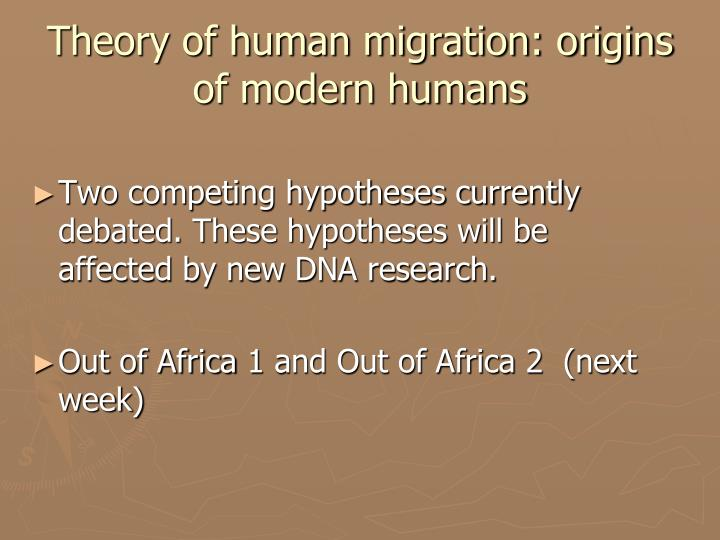 Theory of human migration: origins of modern humans