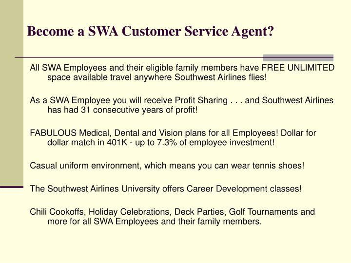 Become a SWA Customer Service Agent?