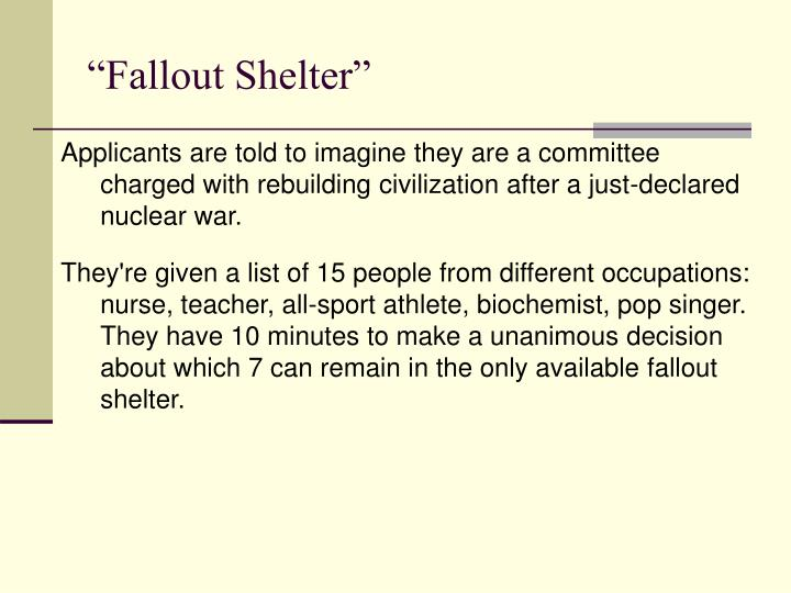 """Fallout Shelter"""