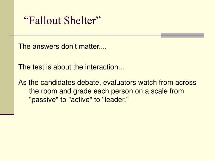 """Fallout Shelter"""