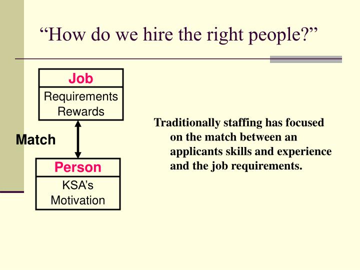 """How do we hire the right people?"""