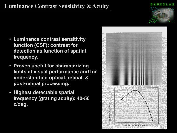 Luminance Contrast Sensitivity & Acuity