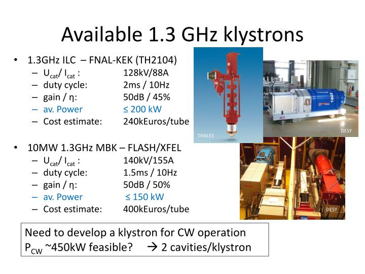 Available 1.3 GHz klystrons
