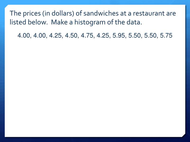 The prices (in dollars) of sandwiches at a restaurant are listed below.  Make a histogram of the data.