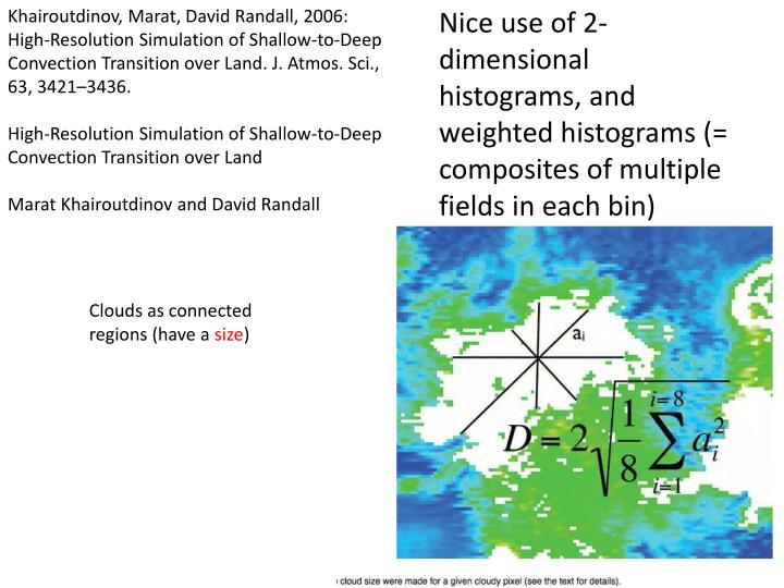 Khairoutdinov, Marat, David Randall, 2006: High-Resolution Simulation of Shallow-to-Deep Convection Transition over Land. J. Atmos. Sci., 63, 3421–3436.
