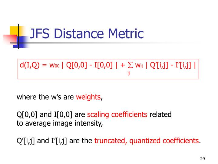 JFS Distance Metric