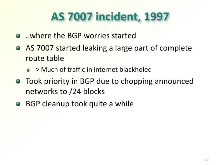AS 7007 incident, 1997