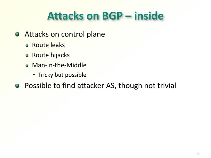 Attacks on BGP – inside