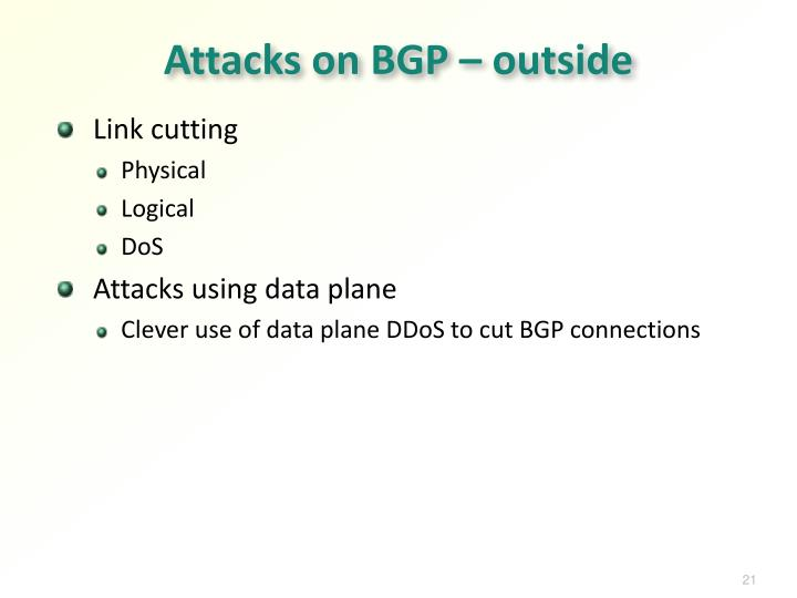 Attacks on BGP – outside