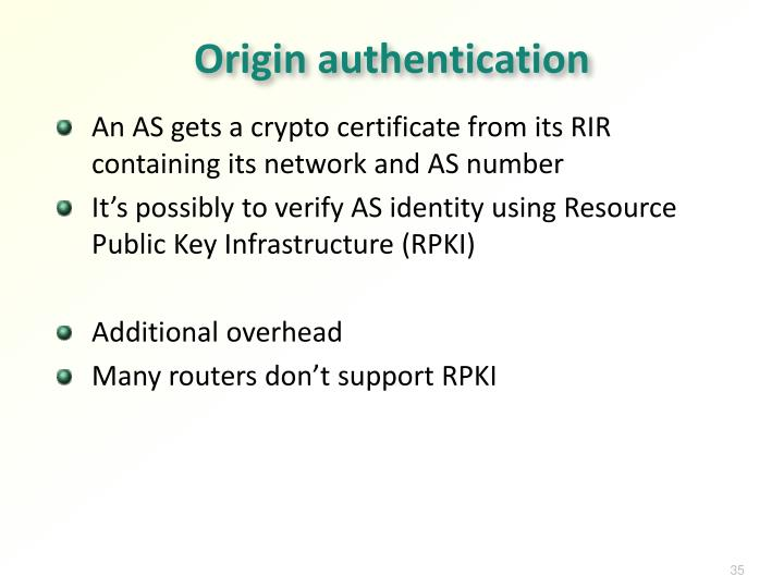 Origin authentication