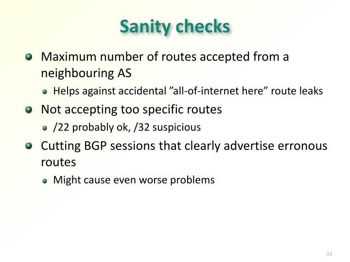 Sanity checks