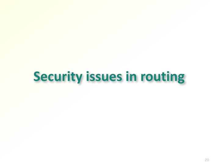 Security issues in routing