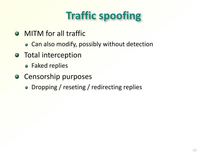 Traffic spoofing