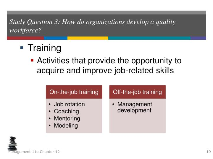 Study Question 3: How do organizations develop a quality workforce?