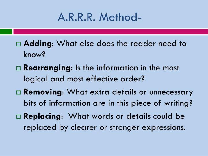 A.R.R.R. Method-