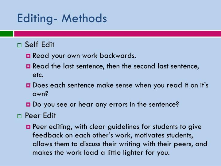 Editing- Methods