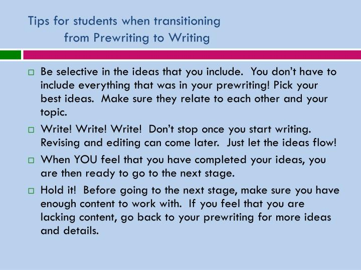 Tips for students when transitioning