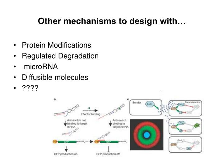Other mechanisms to design with…