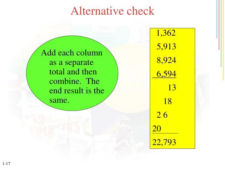 Alternative check