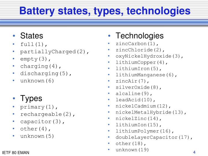 Battery states, types, technologies