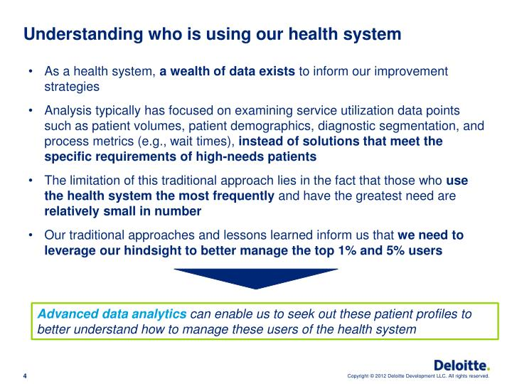 Understanding who is using our health system