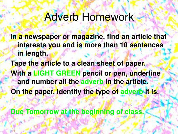 Adverb Homework