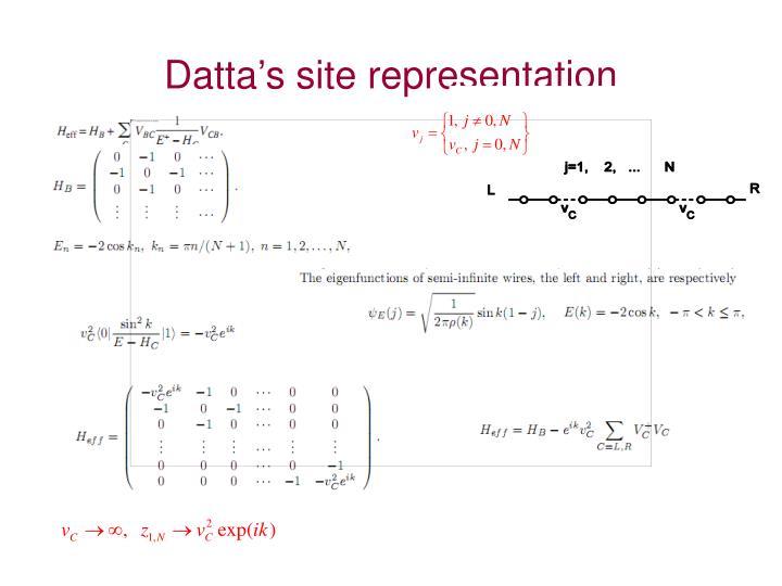 Datta's site representation