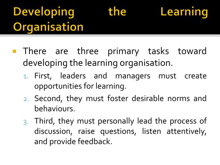 Developing the Learning