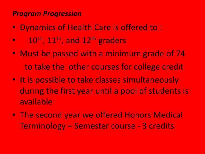 Program Progression