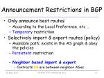 announcement restrictions in bgp