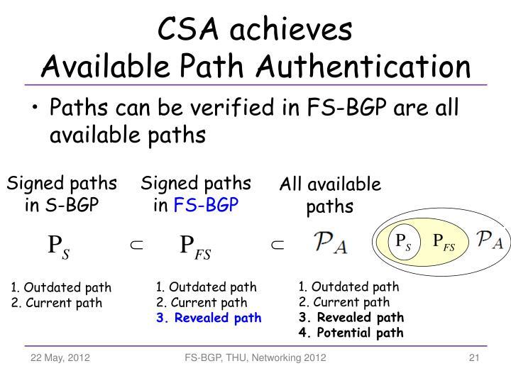 CSA achieves
