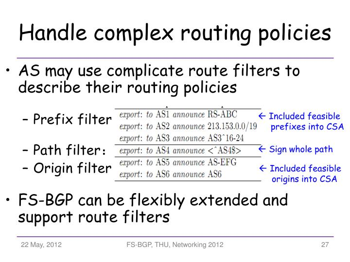 Handle complex routing policies