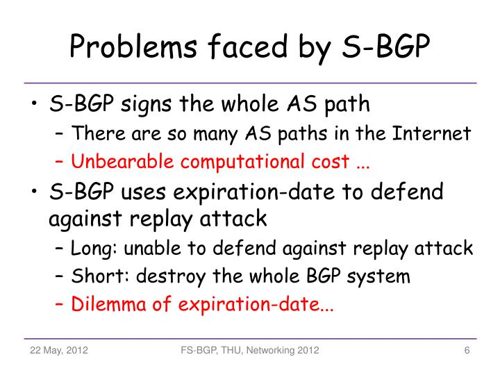 Problems faced by S-BGP